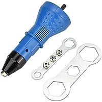 LYTIVAGEN Adaptador de Remache, Herramienta de Remachado con Boquilla y Llave Remachadora Eléctrica para Horno, Drmoire, Bricolaje (Azul)