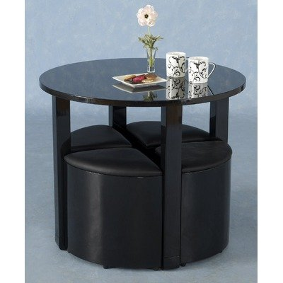 Boston Stowaway 4 Chair Dining Set Colour: Black High Gloss