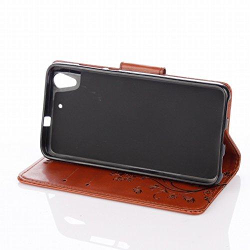 LEMORRY Huawei Honor 5A (Huawei Y6 2) Custodia Pelle Cuoio Flip Portafoglio Borsa Sottile Fit Bumper Protettivo Magnetico Chiusura Standing Card Slot Morbido Silicone TPU Case Cover Custodia per Huawe Marrone