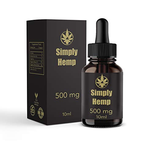 Simply Hemp Oil Drops 500mg | 10ml | Pure Natural Ingredients Full Spectrum  Co2 Extracted | Help Reduce Stress, Anxiety and Pain | Anti-inflammatory |
