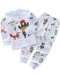 Hongxin Manga Larga Pyjama Sets Conjuntos de Pijama para Niñas Niño Pijama con Estampado de algodón de Ajuste cómodo de 2 Piezas 90cm-120cm