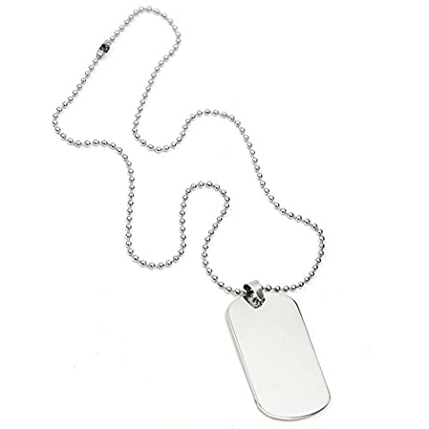 Stainless Steel Men's Military Silver Tone Plain Dog Tag Pendant Chain Necklace