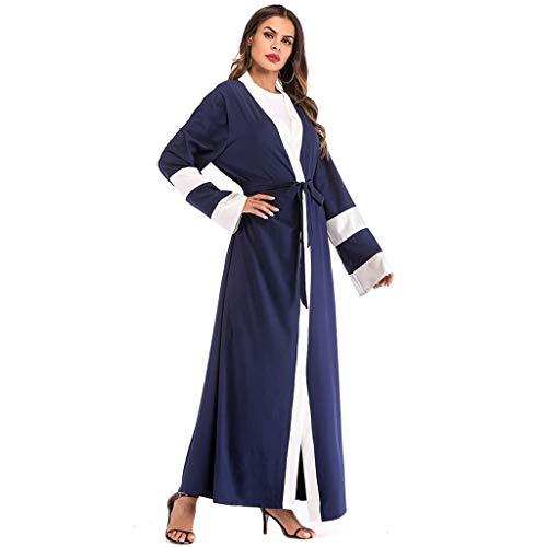 CUTUDE Elegant Frauen Muslim Islamisch Kittel, Damen Muslim Kleidung Sommer Lange Ärmel Ramadan Bluse Mittlerer Osten Saudi Arabisch Traditionell Kleidung (Dunkelblau, X-Large)
