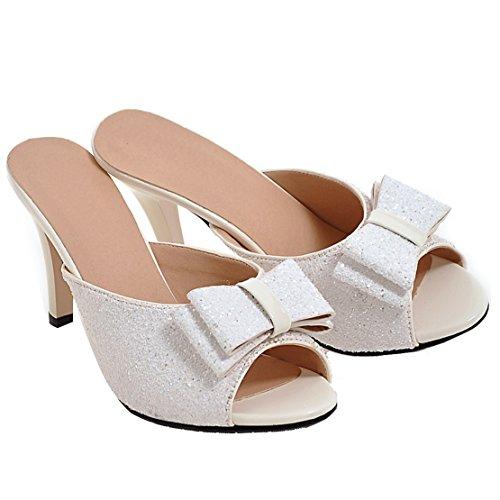 Alto Stiletto sandálias Com Peep Paetês De E Toe Modernos Aiyoumei Brancos Confortáveis Senhoras Glitter Laço Mulas Salto q6wzSvY