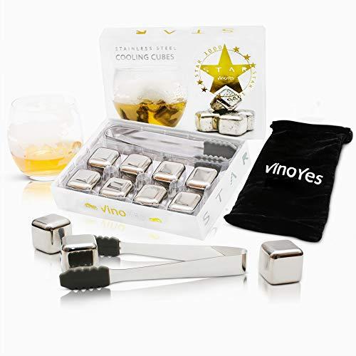 VinoYes Whisky Steine in Gold oder Silber – 8 wiederverwenbare Edelstahlsteine als Geschenk-Set in Edler Verpackung. Mit Zange, Beutel und Anleitung. Kühlsteine