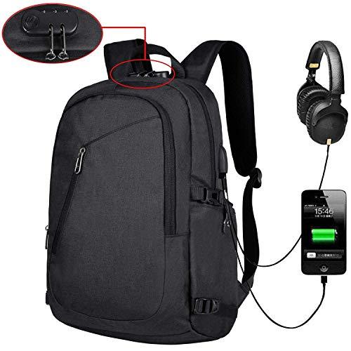 SWBE 15,6 Zoll Anti-Diebstahl-Laptop-Rucksack, Universitätsrucksack, USB-Ladeanschluss-Satchel, Wasserdichte Schultasche, Business Pack, Travel Field Pack - Schwarz