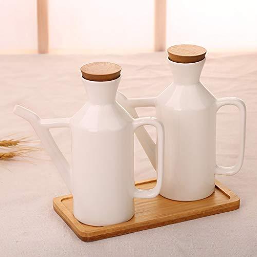 DJSMtlg Keramik Gewürzbehälter Gewürzflaschen Gewürzglas Gewürzdosen Haushalt Rizinusöl Topf Essig Topf Sojasauce Flasche Mit Löffel Bedeckt