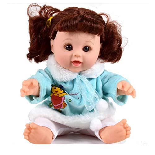 FLAMEER 30cm Niedliche Vinyl Babypuppe Mädchen Funktionspuppe im Kleidung, mit Rucksack Flasche Spiegel und Kamm - Hellgrün