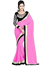 Trendz Women's Georgette Saree With Blouse Piece (Tz_Fdl3_Pink, Pink, Free Size)