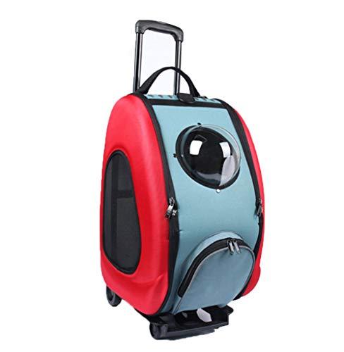 Passeggino per animali domestici, carrello per cani con ruote, zaino per cani, puleggia, borsa per trasporto animali, impermeabile, capacità 10 kg,red,50 * 33 * 30cm