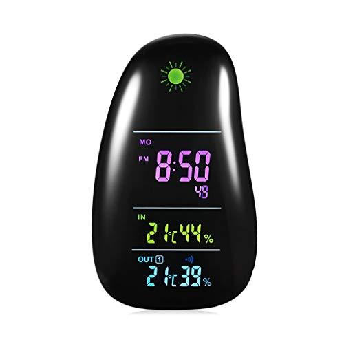 Drahtlose Wetterstation Innen- / Außenwetterüberwachung Uhren Digitale Temperatur-Feuchtigkeitsprognose Wecker LED-Hintergrundbeleuchtungsanzeige (Color : Black, Größe : 4.13 * 2.16 * 7.08inchs)
