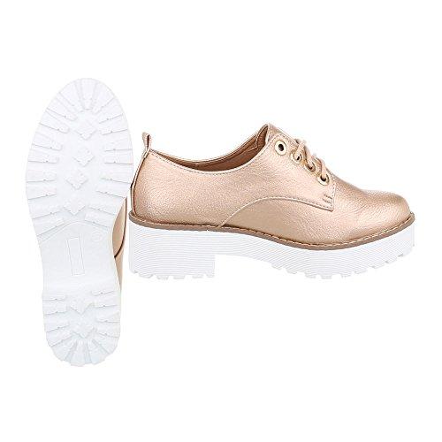 Schnürer Damenschuhe Oxford Blockabsatz Schnürer Schnürsenkel Ital-Design Halbschuhe Rosa Gold