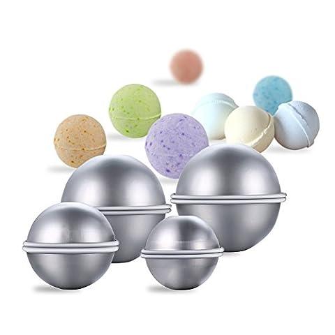 Lugii Cube votre propre Fizzles DIY Métal Moule à Bombe de bain avec ensemble de 3tailles en alliage d'aluminium Bomb Balles de moules pour travaux manuels 8pièces