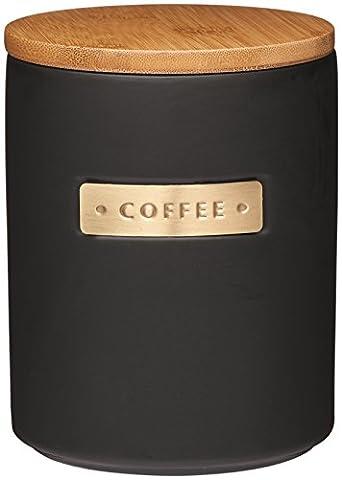 Master Class en grès et effet laiton Boîte à thé avec couvercle en bambou hermétique, Céramique, noir, 11.1 x 11.1 x 14.5 cm