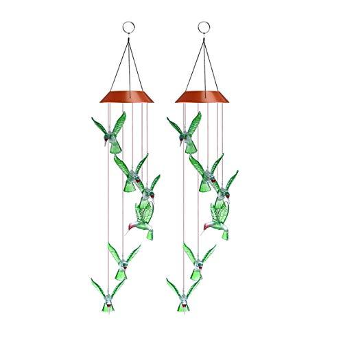 Uonlytech Solar Windspiel, Kolibri Form Farbwechsel Mobile Windspiel Licht, Outdoor Windspiel für Outdoor Indoor Garten Beleuchtung Dekoration (2 Stück, Grün) -