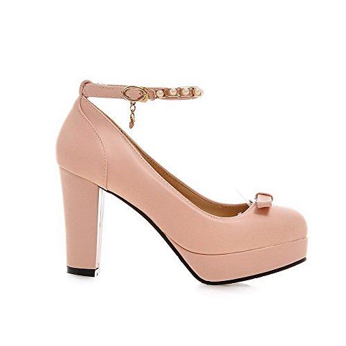 VogueZone009 Damen Rund Zehe Schnalle Pu Leder Rein Pumps Schuhe Pink