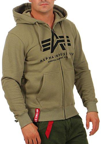 Alpha Industries Uomo Maglieria / Hoodies con zip Basic Oliva