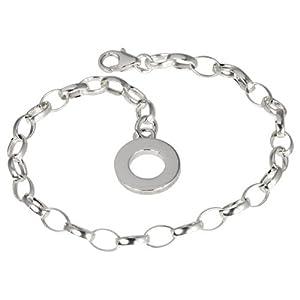 SilberDream Damen-Armband 925 Silber Charm Bettelarmband 18cm Plakette für Anhänger FC0701