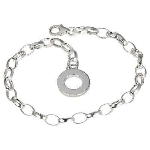 SilberDream Damen-Armband 925 Silber Charm Bettelarmband 19cm Plakette für Anhänger FC0702