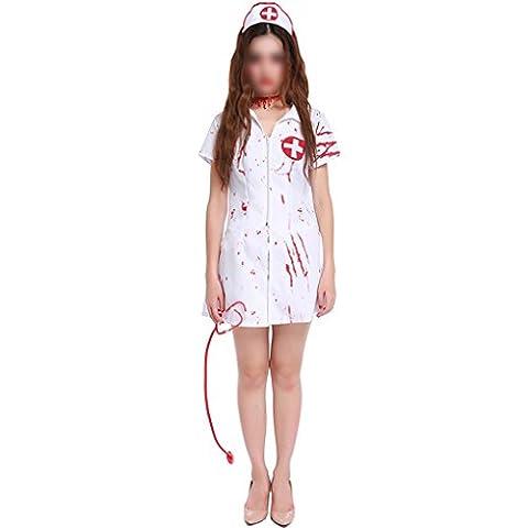 Costumes d'Halloween Femmes Horreur Zombie Infirmière sanglante Uniform Performance Cosplay Outfits Blanc Minzhi