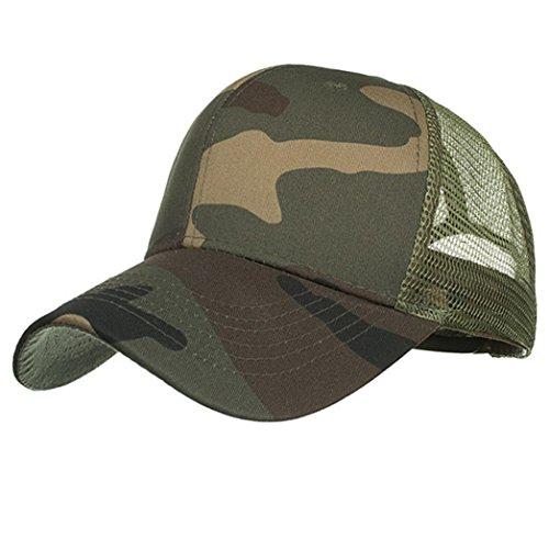 Winkey 2018Neueste Baseball Hat, Sun Hat, Mode Frauen Herren Verstellbar Camouflage Cap Sommer Mesh Hüte Hip Hop Baseball Kappen, armee-grün, 54~62cm - Armee Baseball Cap Hut