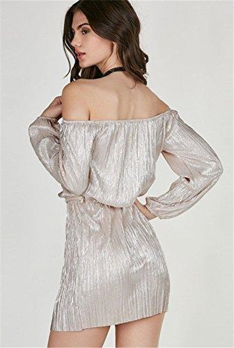 Sexy Schulterfrei Bardot Gerafft Langarm Glänzend Metallisch Skaterkleid A Linien A Linie Ausgestellte Minikleid Dress Kleid Rosa Rosa