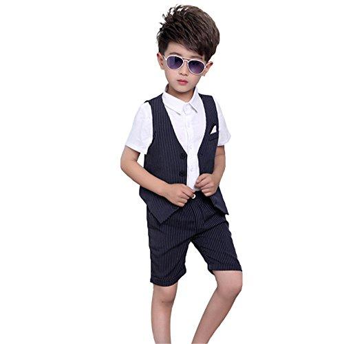 2 STÜCKE Jungen Anzüge Formale baby Kinder Kurzen Anzug Hochzeit Geburtstag Party Outfits (Blau, 122-128) (Baby-ring-bearer-outfit)