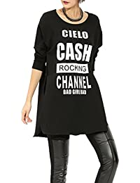 ELLAZHU Femme Shirts-robe Epais Manche Longue Hiver Lettre Taille Unique GY752