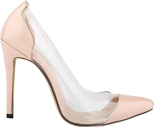CFP , Damen Durchgängies Plateau Sandalen mit Keilabsatz , beige - nude - Größe: 41