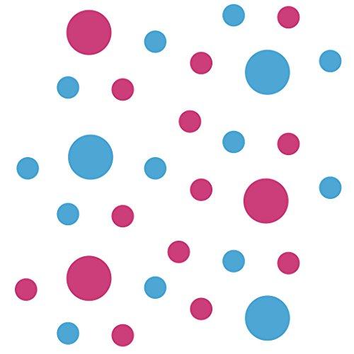 Set von 30-Kreise Polka Dots Vinyl Wand Grafik Aufkleber Aufkleber (Hot Pink/Ice Blau)