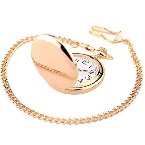 XLORDX Taschenuhr Herren Quarz mit Halskette Pocket Watch Rosegold