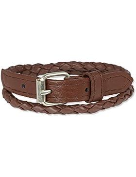 SilberDream Lederarmband braun geflochten, zweifach gewickelt mit Schnalle Leder Armband Echtleder LAC038B