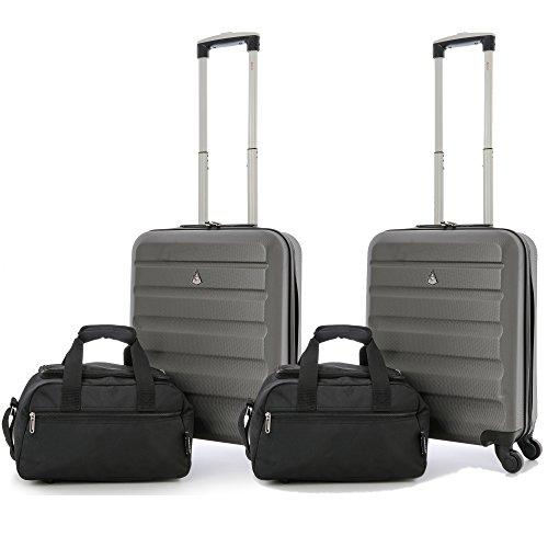 Aerolite 55x40x20 Taille Maximale Ryanair ABS Bagage Cabine à Main Valise Rigide Léger 4 Roulettes (2 x Valise + 2 x 35x20x20cm 2ème Sac)