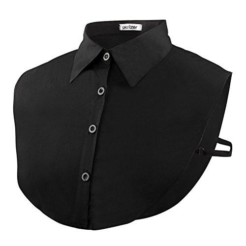 Wearlizer Frauen Kragen Abnehmbare Hälfte Shirt Bluse in Baumwolle Weiß/Schwarz/Jeans, Schwarz, Einheitsgröße