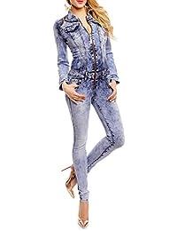 Damen Jeans Overall Langarm mit stylischen Zipper Details