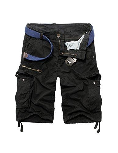 Menscwhear Pocket Hobo Release Pantaloni da Jogging da Uomo sportivi Casual Sarouel danza Shorts in esecuzione with belts (46/48,nero)
