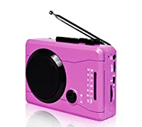 DIGITNOW! USB Mini Stereo Audio Retro Personal Cassette Player and Recorder,Music loudspeaker&Wireless AM/FM Recording Digital from/to Analog Cassette Tape from/to MP3 Converter (Pink)