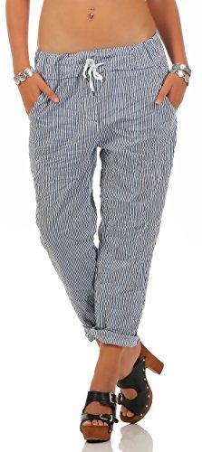 Mississhop, hergestellt in EU 205 Damen Hose leichte Freizeithose Stoffhose elegante Haremshose im Marine Streifen Look für den Sommer mit Tunnelzug Blau-Weiß (Marine-blauer Streifen)