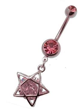 Acosta - Pentagramm Anhänger Glaskristall Pink Banane STAR - Bauchnabel Piercing