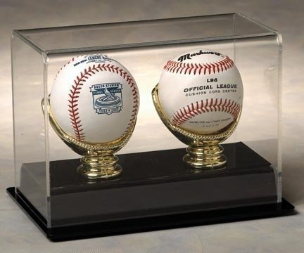 Two Baseball Display Case with Formed Black Base and Gold Glove Holders by STG
