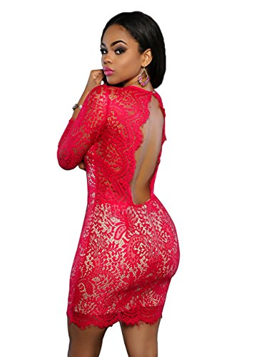 Blansdi Femmes Sexy Dentelle Col V Profond à manches 3/4 Dos Nu Party Clubwear Bodycon Robe Moulante Rouge