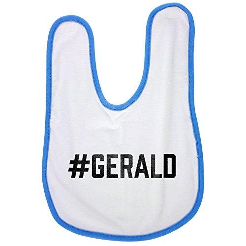 Blue baby bib with #GERALD