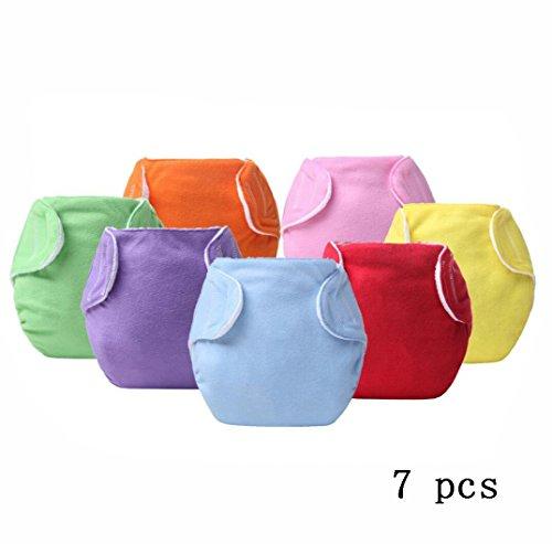 0-24 Monate Mädchen und Junge Taschenwindeln Wiederverwendbar, 7PCS Kinder Neue Verbesserte Glückliche Windeln,Multicolored