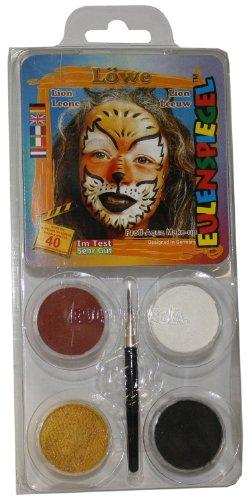 Schminkset Löwe, Pinsel und Anleitung, 4 Farben (Löwe Kostüm Make Up)