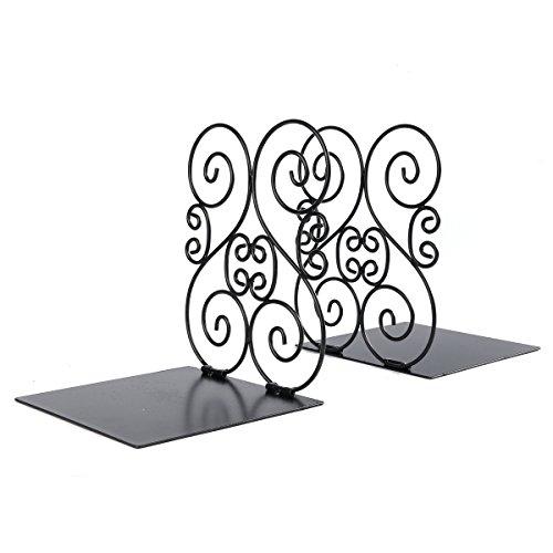 NIKKY HOME schwarz Eisen Design für Regale Schreibtisch Halterung Book Organizer Dekorative rutschfeste Art Buchstützen (Bücherregal Regal Black Metal)