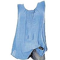 CRYYU Womens Plus Size Solid Loose Round Neck Sleeveless Tank Top Cami Blouse Shirt 1 3XL