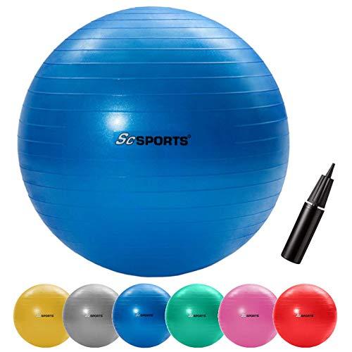 ScSPORTS Gymnastik-/Sitzball, zur Entlastung der Wirbelsäule, als Yogaball geeignet, Ø 65 cm