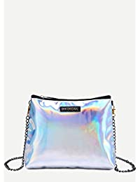 Premium Silver Faux Leather Zip Closure Shoulder Bag With Chain Strap