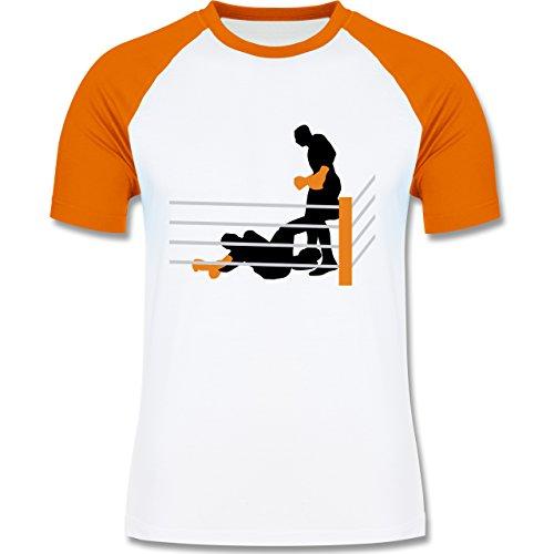 Kampfsport - Boxer am Boden K.O. geschlagen - zweifarbiges Baseballshirt für Männer Weiß/Orange