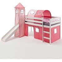 Preisvergleich für IDIMEX Spielbett Rutschbett Hochbett mit Rutsche BENNY, Kiefer massiv weiß lackiert 90x200 cm, mit Rutsche Vorhang Turm und Tunnel in pink/rosa